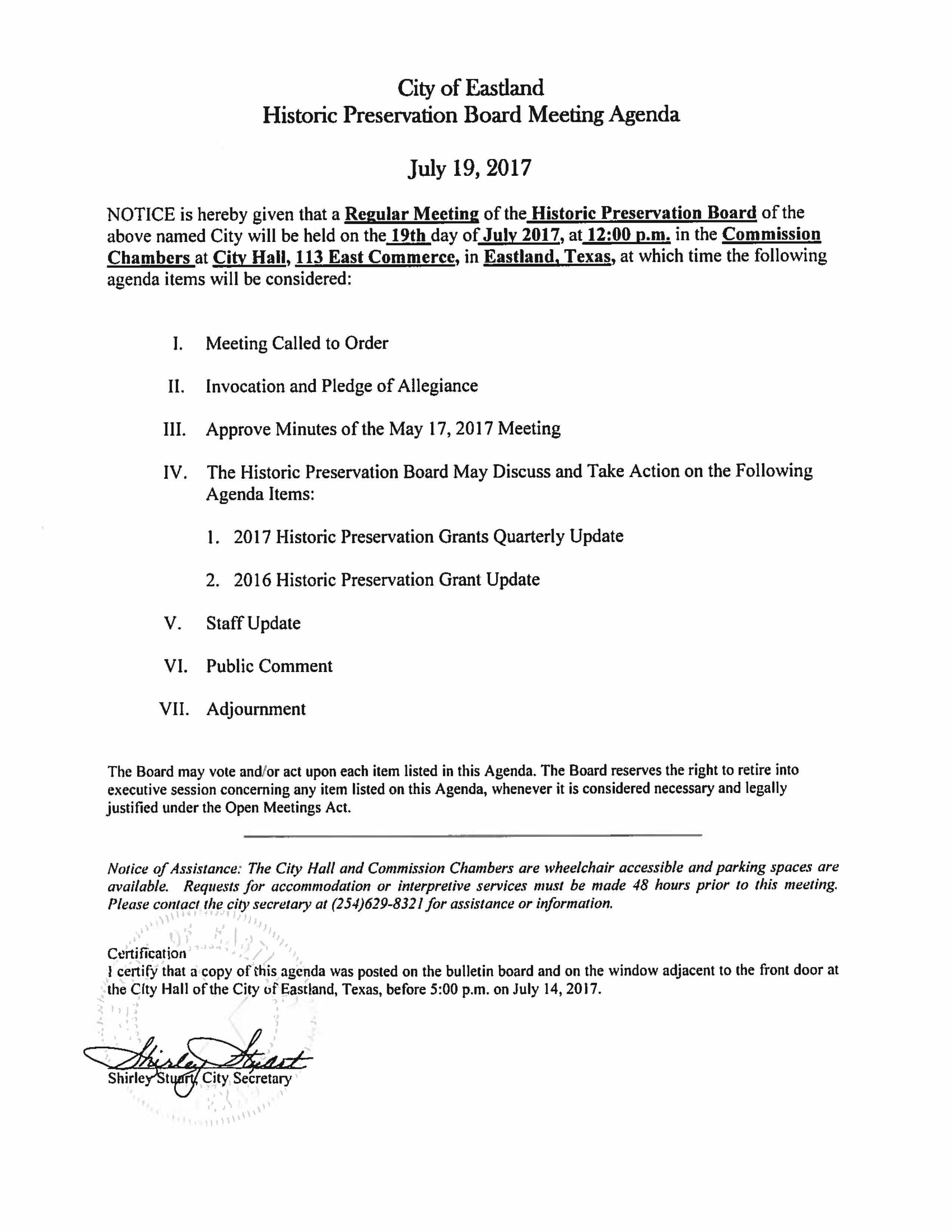 Historic Preservation Board Meeting July 19 Eastland County Today